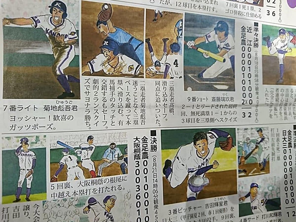 金足農業高校野球部の活躍場面を描いたイラスト