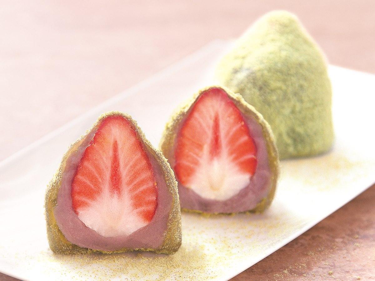 秋田市の和菓子店が期間限定販売する「イチゴわらびもち」