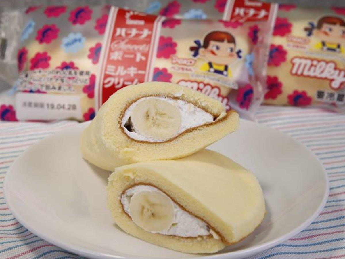 秋田市内の製パン会社が「不二家」(東京都文京区)とコラボした「バナナスイーツボード ミルキークリーム」
