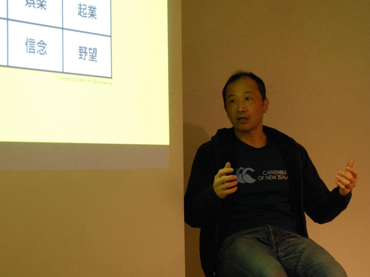 起業家対談イベントのゲスト、ご当地ヒーロープロデューサーの海老名保さん