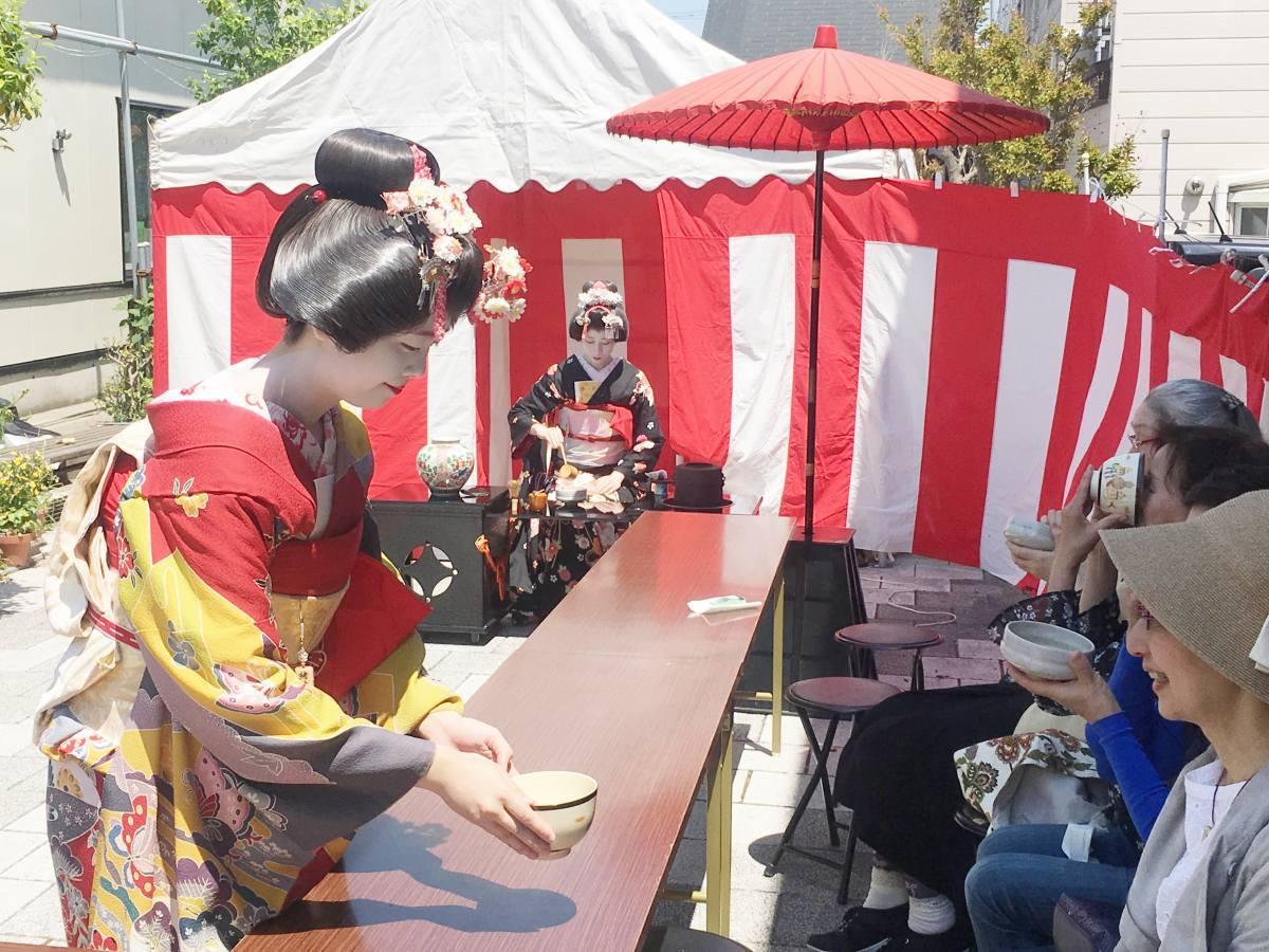 秋田市通町商店街で開かれる「あきた舞妓のお茶会」