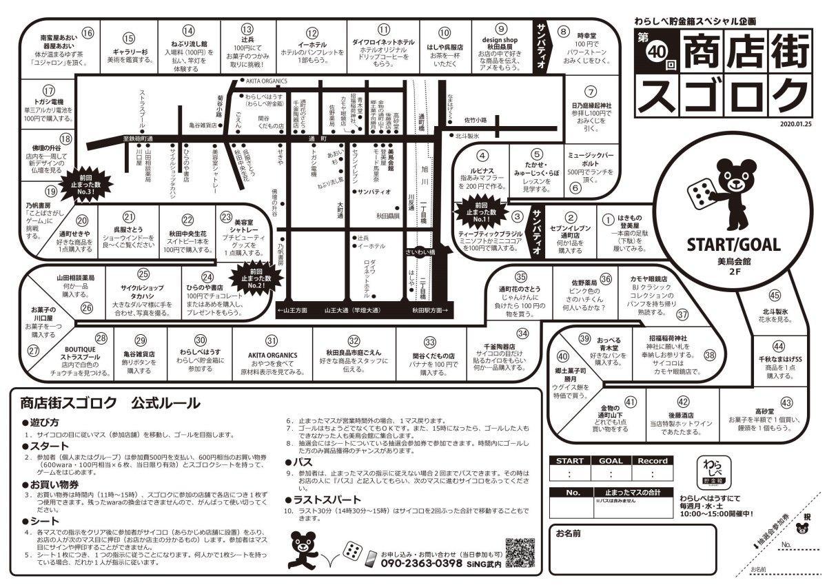 秋田市で行われる商店街活性化イベント「商店街スゴロク」で使うシート。サイコロの出目に従って実際に商店街を回る