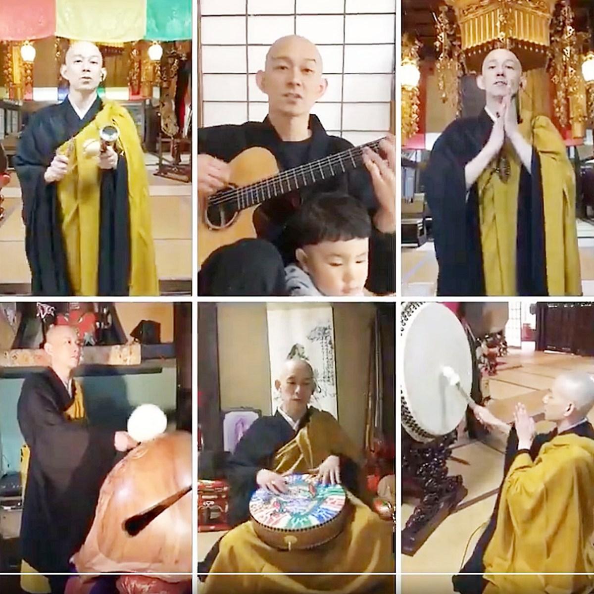 秋田県三種町の「松庵寺」住職でミュージシャンの渡邊英心さんが制作した動画の一場面