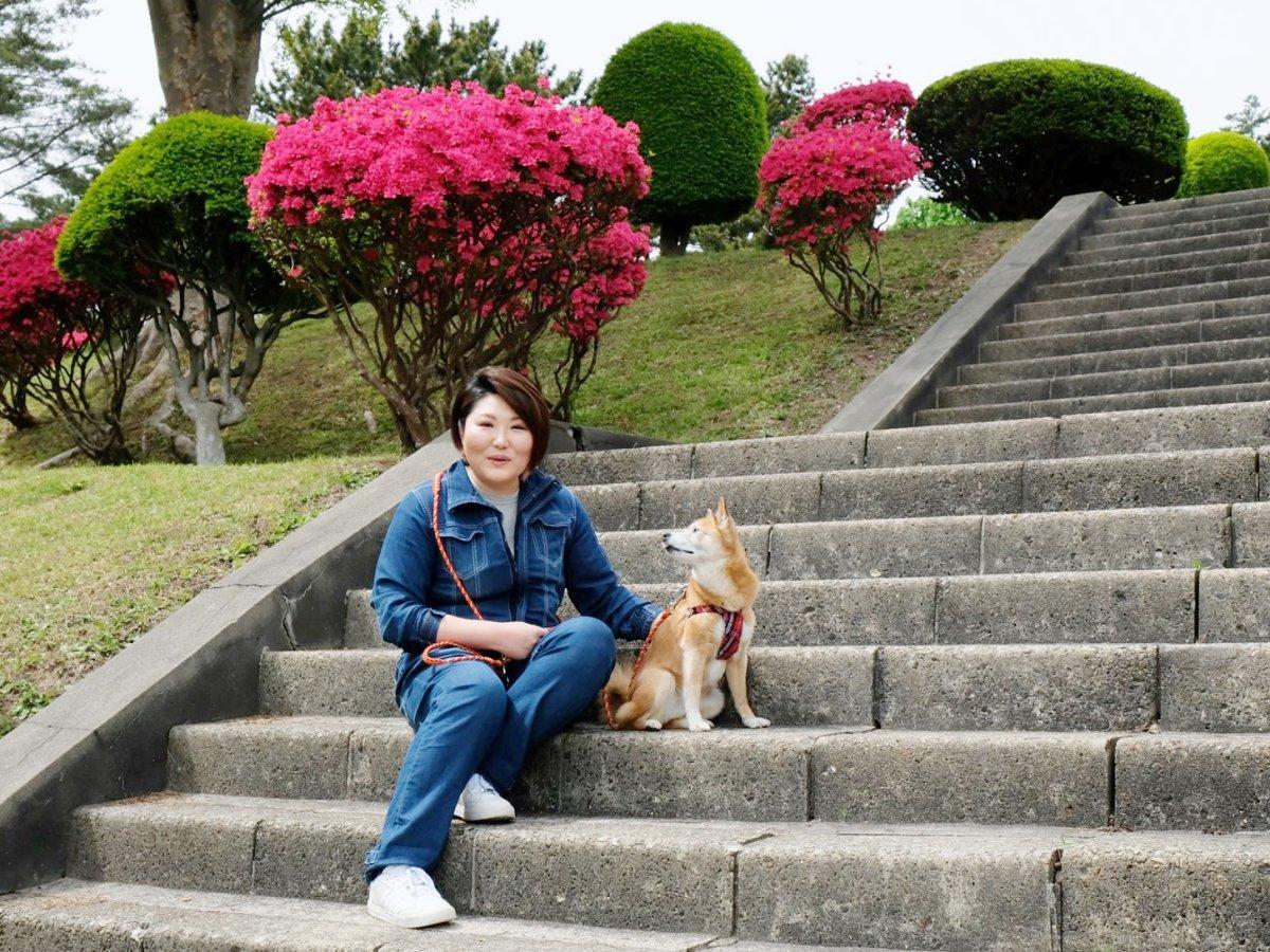 老犬のケアサービスを始めた老犬介護士の藤原温子さん