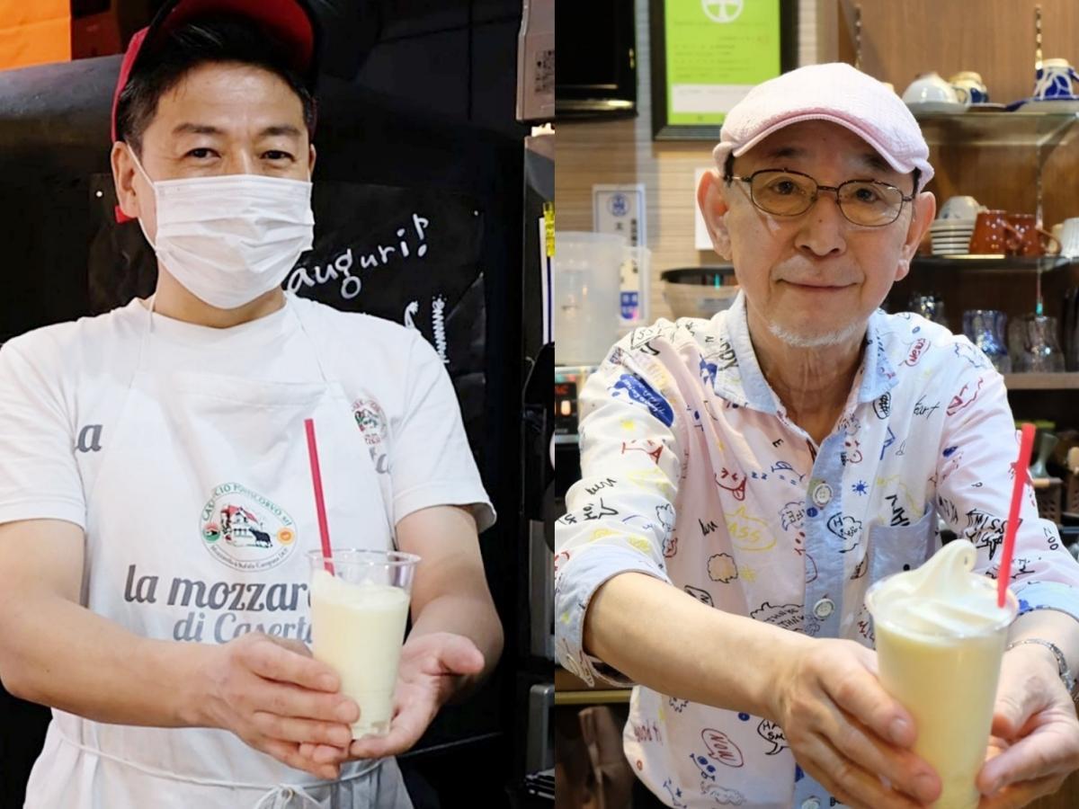 夏季向けに連携メニューを提供するピザ店店主の大関真吾さん(左)と喫茶店店主の太田忠幸さん(右)