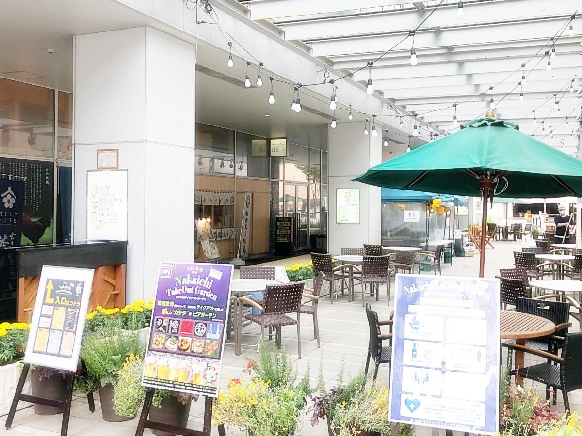エリアなかいち(秋田市中通1)商業棟と秋田県立美術館間の通路で営業するビアガーデン