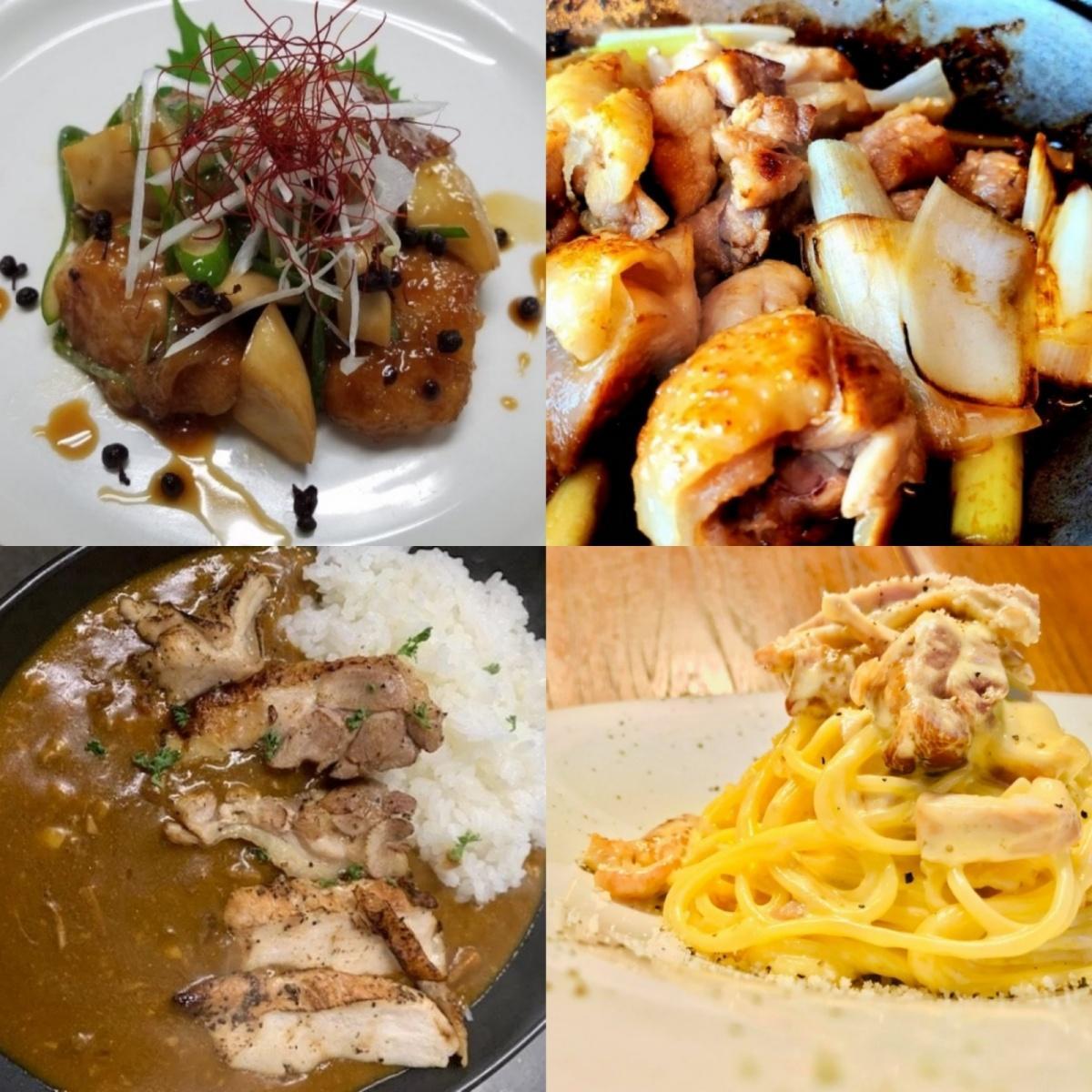 さまざまな業態の飲食店23店が提供する「比内地鶏」特別メニューの一部