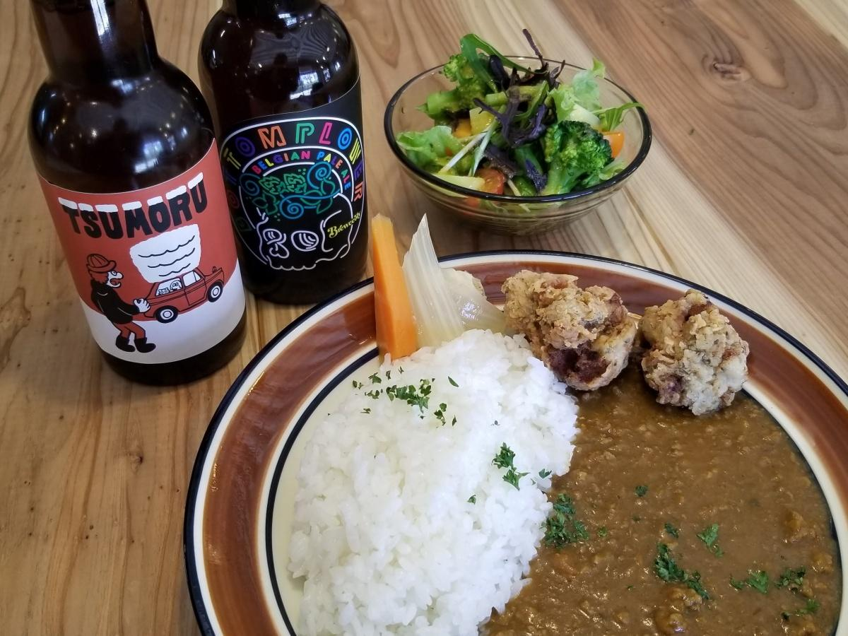 秋田市内で醸造されるクラフトビールとランチメニュー「あいびきカレー」