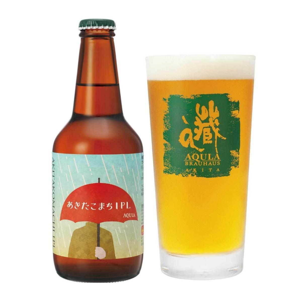 ビールの世界的審査会で最高賞を受賞した秋田のクラフトビール「あきたこまちIPL」。ボトルのラベルデザインは、秋田公立美術大学(秋田市)と共同で制作