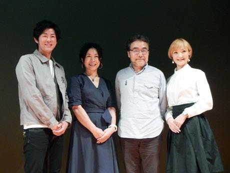 (右から)野秋裕香さん(主役)、岩松了さん(演出)、上原裕美さん(作)、堀江勇気さん(準主役)