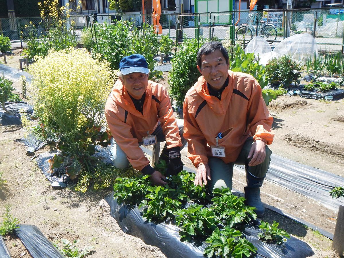 菜園アドバイザーの愛川望さん(左)と椙本さん。5月には利用者からアドバイザーに転身する人も