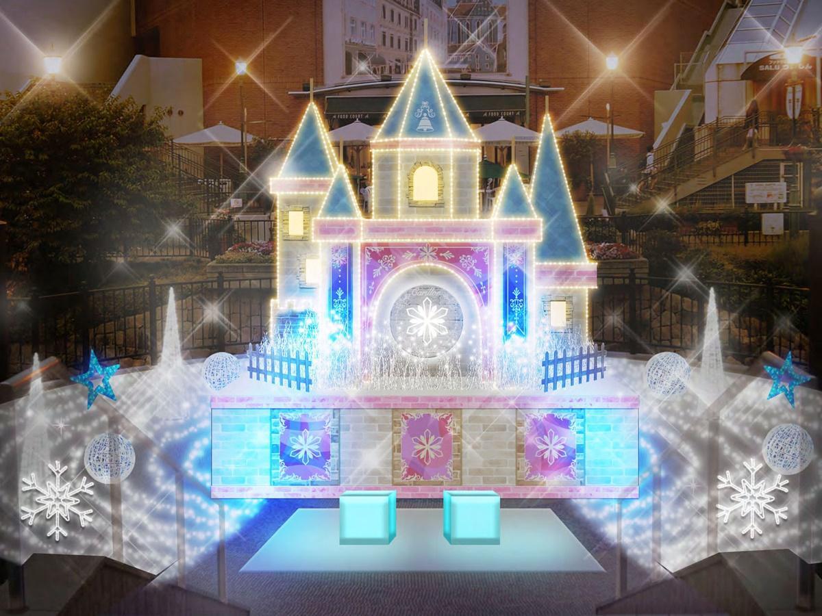 メインイルミ「カリヨン城」(イメージ)。白く輝く氷の結晶が、プリンセスの婚礼式を見守る