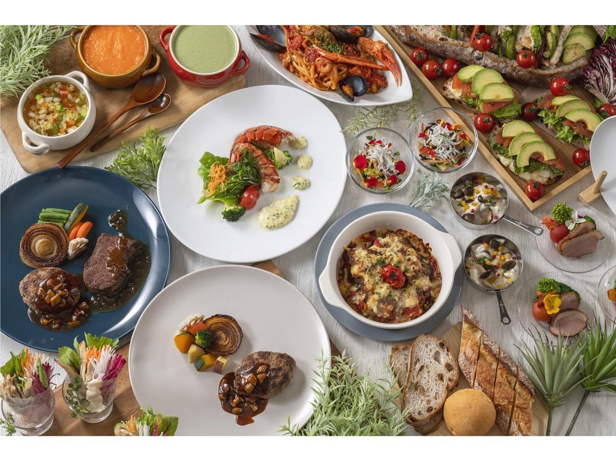 「ハンバーグステーキ&ハーフブッフェ」イメージ。ビュッフェは野菜を中心としたさまざまな料理がそろう