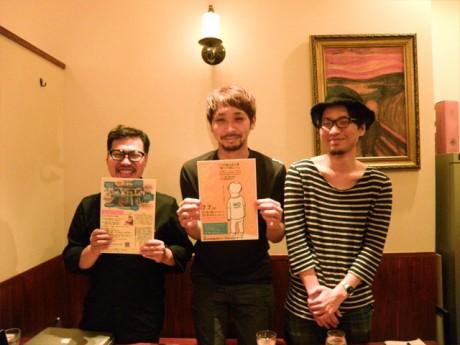 話を聞いた「シネマニアあさひかわ」の桐原さん(左)、舟田さん(中央)、太野垣さん(右)