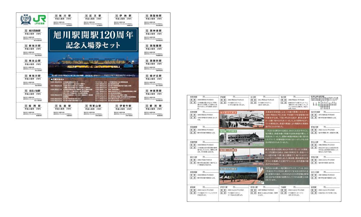 旭川駅で販売する「旭川駅開駅120周年記念入場券セット」