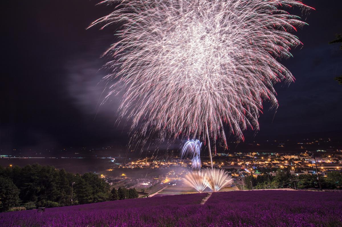 大輪の花火がラベンダー畑を彩る
