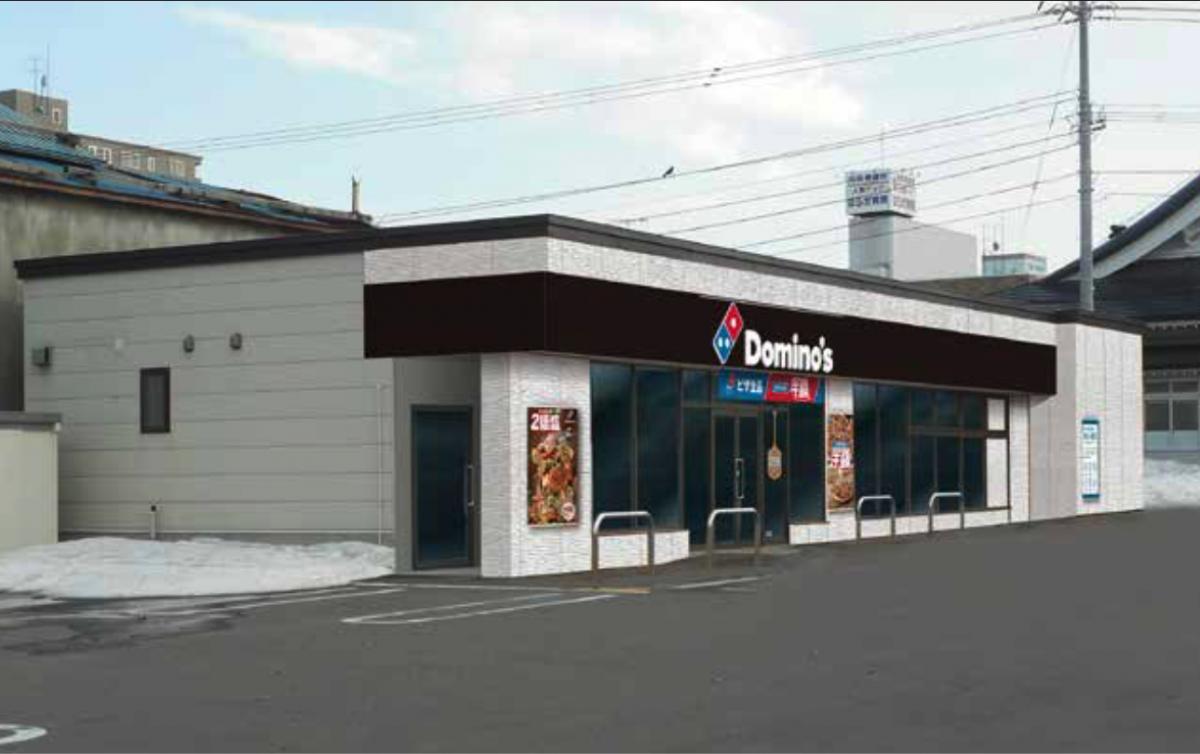 旭川初出店となる「ドミノ・ピザ旭川二条店」のパース画像