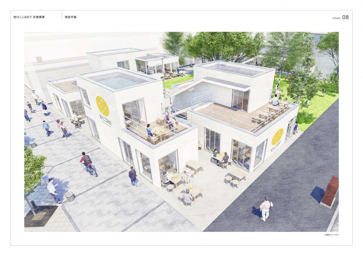 旭川・北北海道の食や文化を発信する商業施設「旭川ここはれて」完成イメージ 左下が買物公園 右下が5条本通