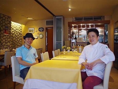 (左から)代表の佐久間雄平さん、シェフの斯波順一さん