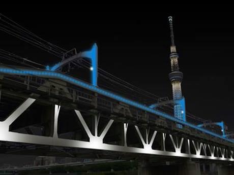 東京スカイツリーのライティングとのコラボレーションイメージ(画像提供:東武鉄道)