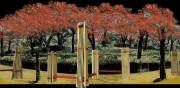 隅田公園で桜紅葉のライトアップ 展望ベンチ設置、十三夜の月と共に楽しんで