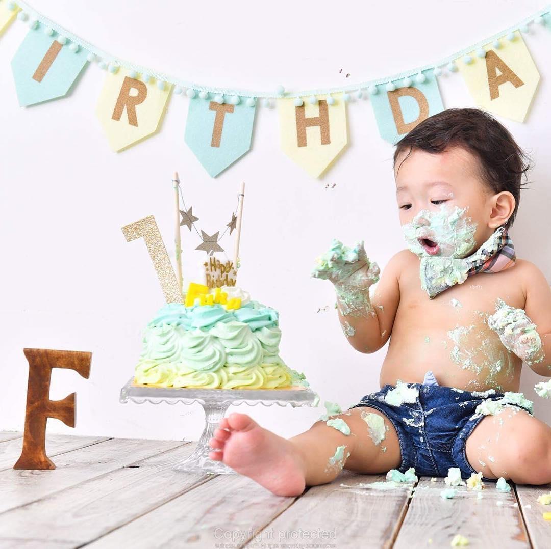 スマッシュケーキで誕生祝い