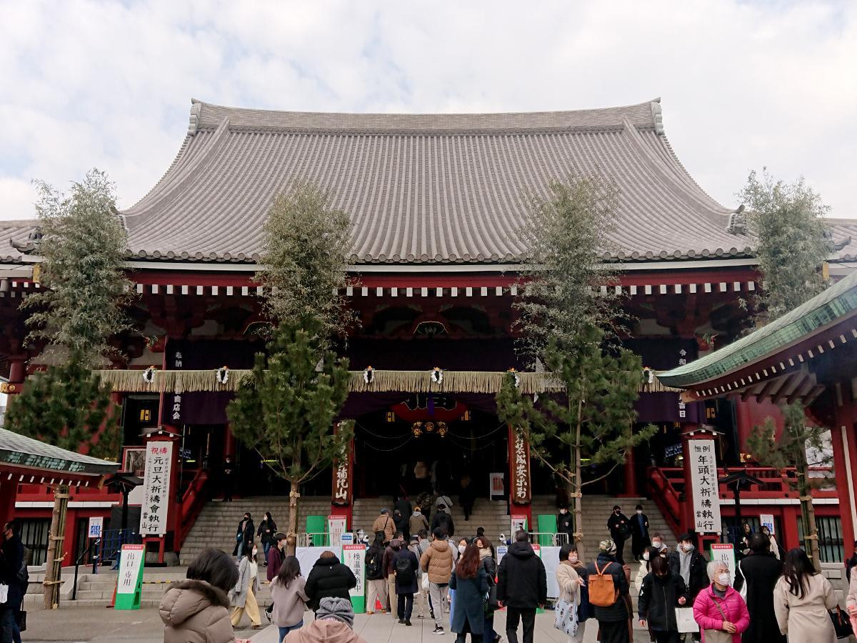 1月5日の浅草寺本堂の様子