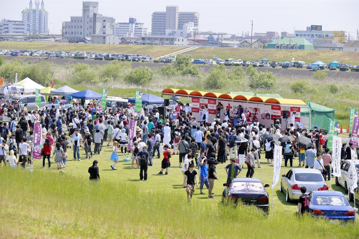 国内有数の規模である500台の痛車展示(過去開催時の写真、写真提供:足利ひめたま祭 公式カメラマン・ケーゴ)