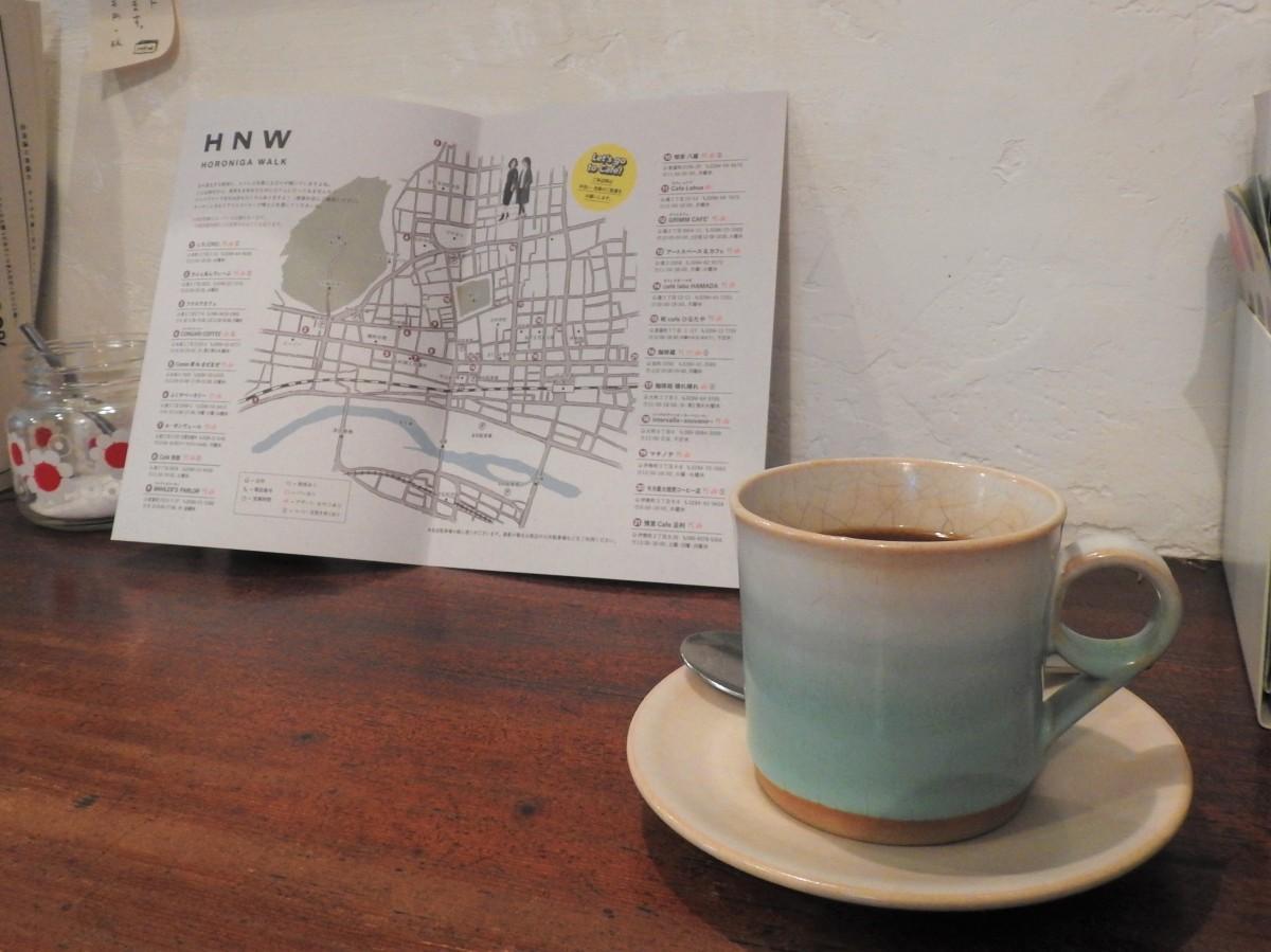 「HORONIGA WALK」マップ(喫茶 八蔵で撮影)