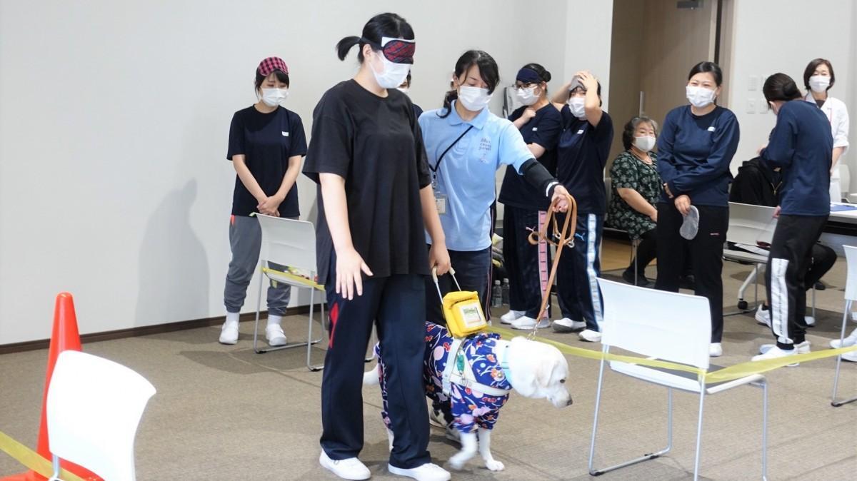20人の生徒がアイマスク着用で盲導犬と指定コースを歩いた
