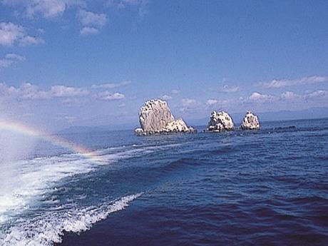 船上からみる「沖の白石」