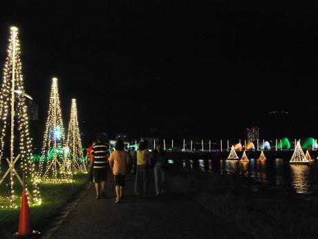 湖岸を彩るイルミネーションを楽しむ人々