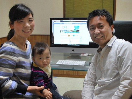 Uターンで滋賀に戻った林夫妻と息子の大賀くん。滋賀の魅力をフェイスブックで発信する