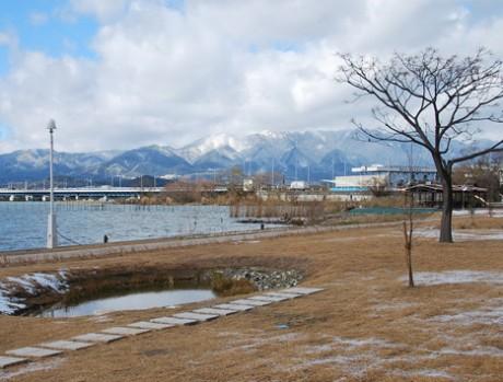 近江八景「比良の暮雪」を望む。「ナチュラルガーデンプロジェクト」では、かつてびわ湖畔に多数点在した「内湖」をモチーフとした池を中心に、地域の植物の植栽や外来種の除去など湖岸の再生に取り組んでいる