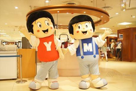 西武大津店でヤンマーミュージアム展示会 ヤン坊マー坊と記念写真も