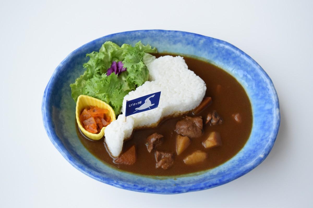 ご飯で琵琶湖の形を再現し、博物館のある場所に旗を立てた「びわ湖カレー」