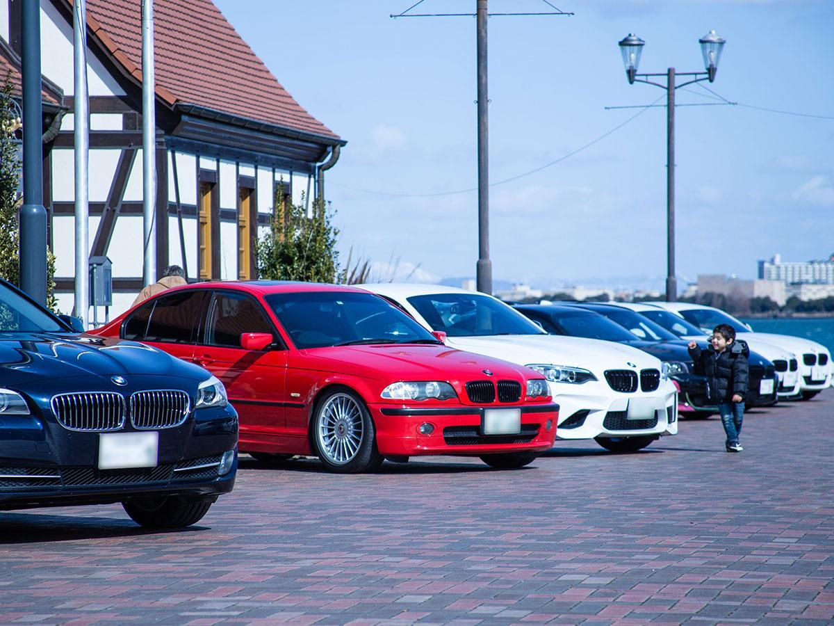 普段は車両進入禁止の湖岸公園スペースに車が並べられる(第1回大津オフ会)