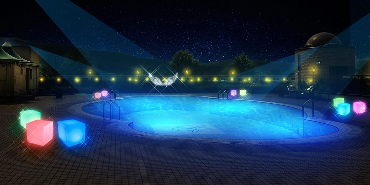 ナイトプールのプールサイドには「天使の翼」のフォトスポット