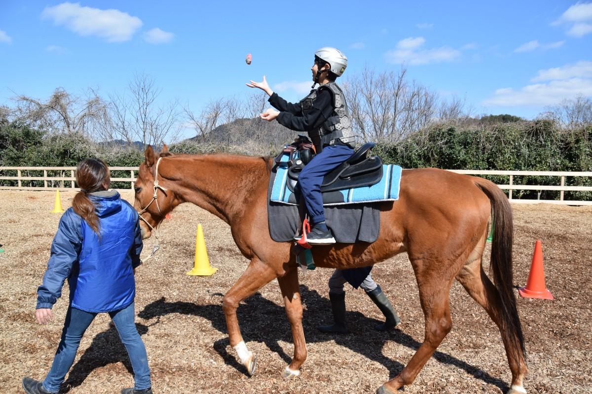 乗馬しながらお手玉をする子ども 同時にすることで脳の発達も促す