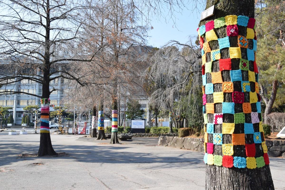 毛糸で彩られた皇子山総合運動公園