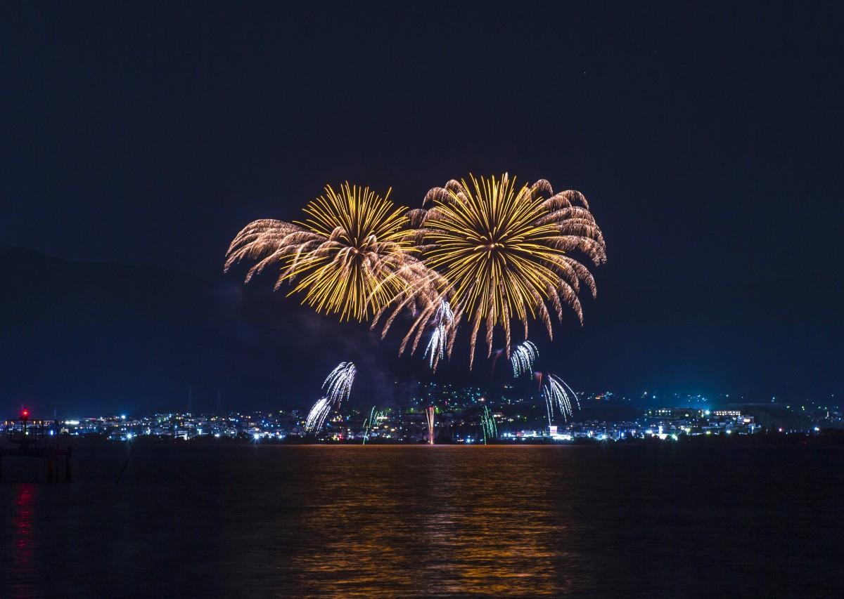 雄琴温泉付近で打ち上げられた花火を対岸から撮影