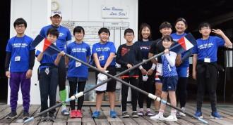 滋賀レイクスターズ「ロウイングクラブ」 小中学生が琵琶湖でボート練習
