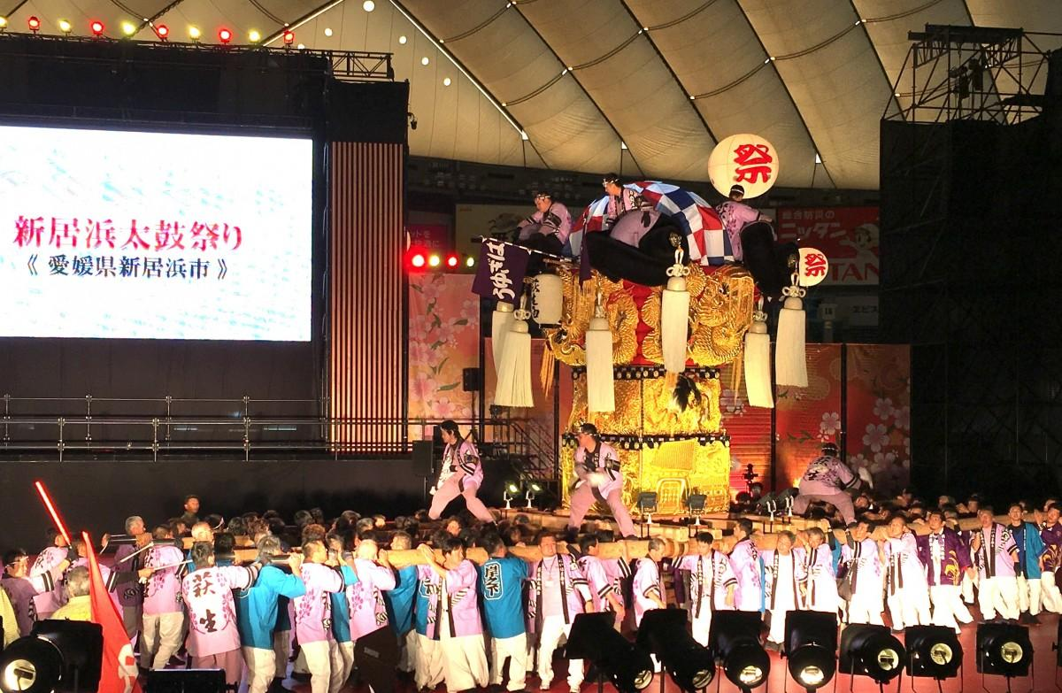 「新居浜太鼓祭り」実演の様子