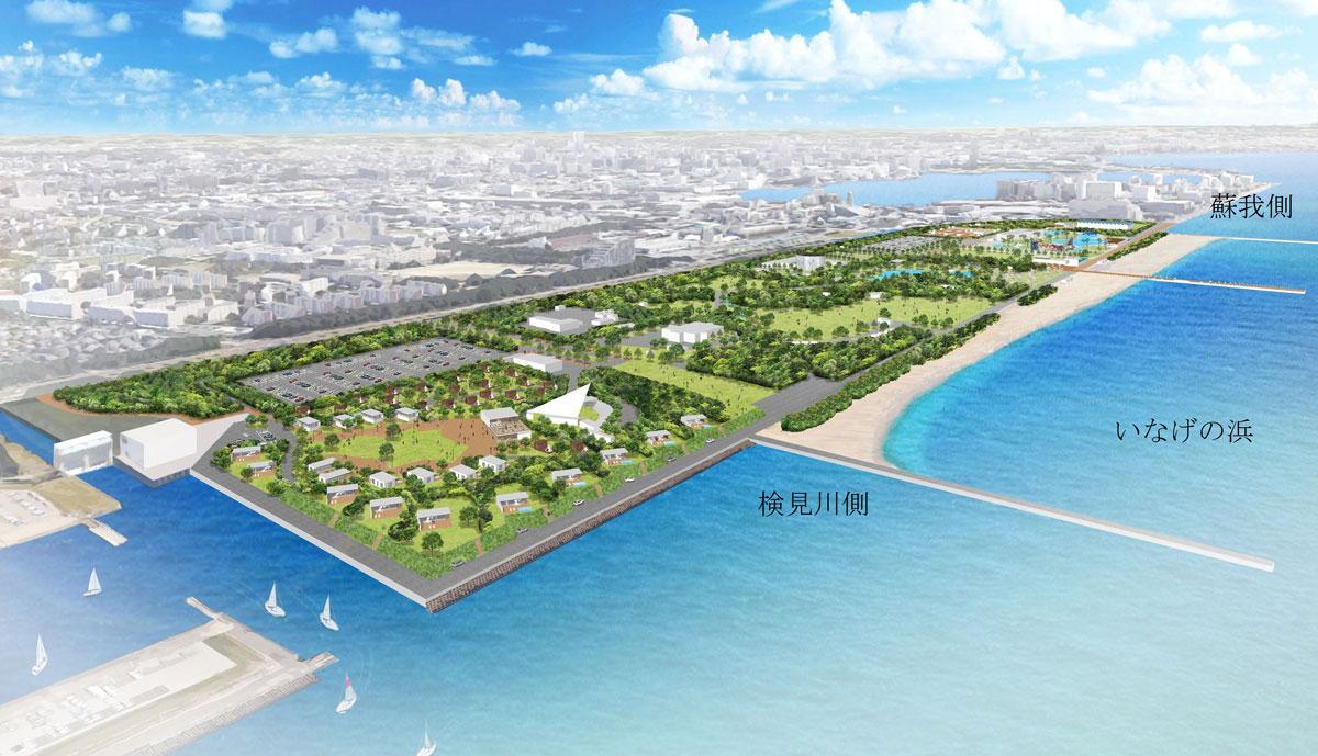 稲毛海浜公園内「いなげの浜」工事後イメージ図