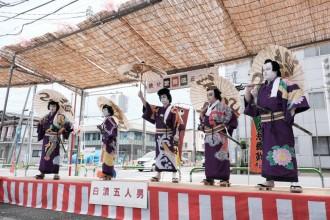 秩父歌舞伎正和会、ちちぶ朝市会場で「白波五人男」上演