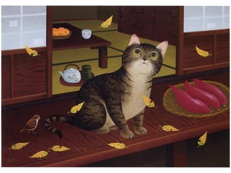 猫やちいさな生きものたちが里山で暮らす風景が童画で表現されている。