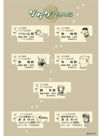9月11日から調布駅などで販売される「ゲゲゲの鬼太郎」のキャラクターが描かれた「ゲゲゲ記念切符」