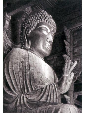 篠田教夫さんの細密鉛筆画「東大寺盧舎那仏坐像」(163×115mm)