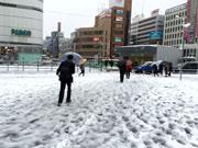 調布でも10センチ以上の積雪 雪化粧の深大寺にカメラマンも