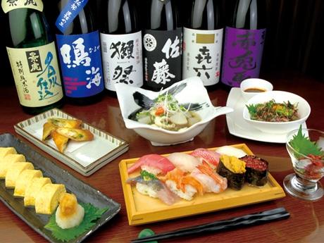 伊豆諸島から空輸される朝どれ鮮魚をメインに、酒に合わせにぎりずしやおつまみも